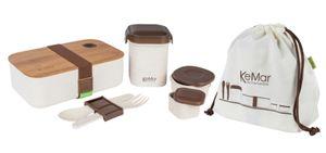 KeMar Kitchenware Lunchbox Set 6-1 | Brotdose | Bentobox mit Bambus Deckel 1,1 L | aus Reisfaser und PP