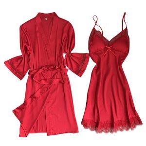 New Satin Silk Pyjamas Nachthemd Frauen Roben Unterwäsche Nachtwäsche Dessous Größe:XL,Farbe:Rot