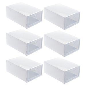 6Pcs 33x23x13cm Staubdichte Schuhe Fall Verdicken Schuhe Box Schublade Stil Schuh Aufbewahrungsbox Weiß