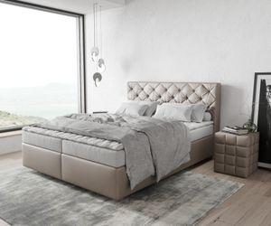Boxspringbett Dream-Great Kunstleder Taupe 160x200 mit Matratze und Topper