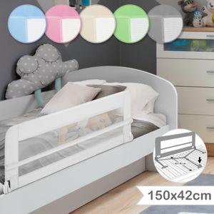 Infantastic® Bettgitter für Kleinkinder - Klappbar, Tragbar, Faltbar, 150/42 cm, Weiß - Rausfallschutz, Babybettgitter, Kinderbettgitter, Bettschutzgitter