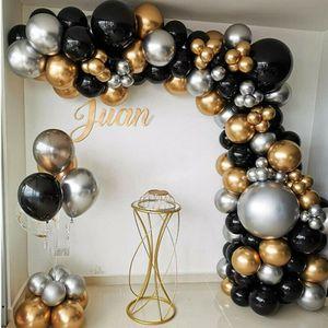 110Pcs Chrom Schwarz Gold Ballons Bogen Kit Girlande Geburtstag Hawaiian Party Decor Hochzeitsballons