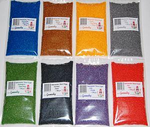 Bunter Dekorzucker 8 x 100g ( 800g )  Dunkelblau, Braun, Eigelb, Grau, Dunkelgrün, Schwarz, Lila, Rot auch für bunte Zuckerwatte und Zucker für die Zuckerwattemaschine, Glitzerzucker, farbiger Zucker, Farbaromazucker, Glimmerzucker, Zuckerstreusel, Zuckerdeko, Plätzchen, Zuckerwattegerät