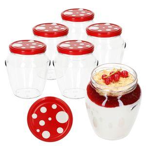 6er Set Marmeladengläser 580 ml Deckel Fliegenpilz-Dekor TO 82 Einmachgläser Obst Einkochzubehör