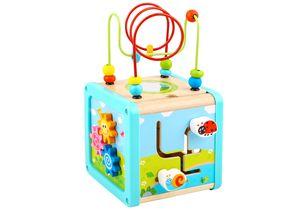 Tooky Toy bunter 5 in 1 Motorikwürfel Holz-Spielcenter mit Motorik-Schleife, Drehspiel, Labyrinth, Schiebespiel, Radspiel - geeignet ab 3 Jahren