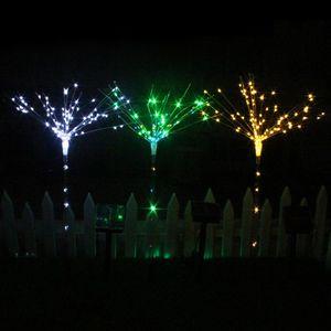 100 LEDs Fairy Fireworks Lights Funkelnde Solar Outdoor Gartenleuchten