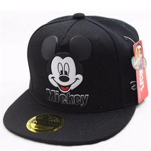 1x Kinder Schwarz Mickey Mouse Baseball Cap Hut Einstellbar Snapback Sonnenhut Sport Kappe Hüte Schirmmütze Baumwolle