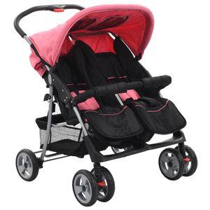 Huicheng Zwillingsbuggy Stahl Buggy Geschwisterkinderwagen Zwillingswagen Baby kinderwagen Rosa/Schwarz
