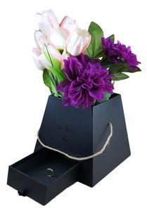 Dekobox mit Juteseil und Geschenkfach | Flowerbox  | Hutschachtel | Ordnungsbox | Blumenstrauß  Dekoration | Geschenkbox Rund | Geschenkschachtel | Blumenbox l Rosenbox Farbe Schwarz | Aufbewahrungsbox