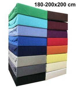 Jersey Spannbettlaken 180x200 - 200x200 cm Spannbettuch 100% Baumwolle Bettlaken, Schwarz
