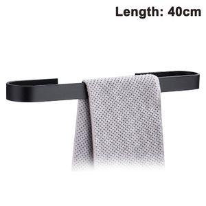 Handtuchstange Handtuchhalter ohne Bohren 40cm, Handtuchring, Patentierter Kleber + Selbstklebender Kleber, Aluminium, Silber