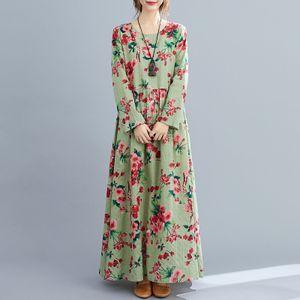 Frauen Kleid Blumendruck Mehrfarbig O-Ausschnitt Langarm Vintage Casual Loose Beach Holiday 2XL