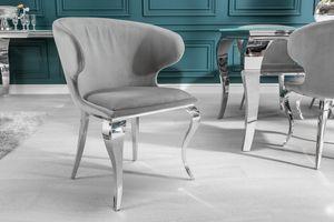 Eleganter Stuhl MODERN BAROCK II grauer Samt Edelstahl Esszimmerstuhl Küchenstuhl