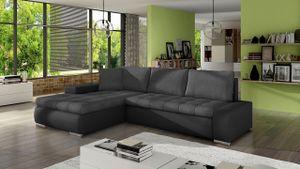 Mirjan24 Ecksofa Orkan Mini, Elegante Polsterecke, Schlaffunktion und Bettkasten, Eckcouch vom Hersteller, L-Form Sofa, Beste Qualität (Soft 011 + Casablanca 2315)