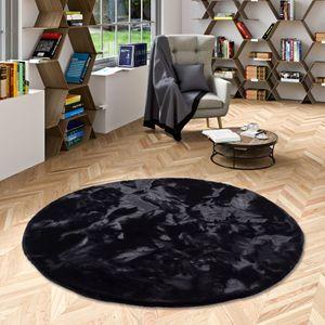 Luxus Super Soft Fellteppich Plush Schwarz Rund, Größe:120 cm Rund