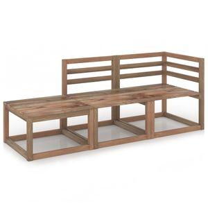 vidaXL 3-tlg. Garten-Lounge-Set Braun Imprägniertes Kiefernholz