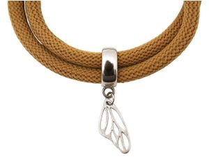 Damen Armband Wickelarmband 925 Silber Schmetterling Braun