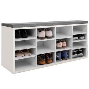 Schuhschrank Schuhregal 14 Schuhe Schuhbank Schrank Sitzbank mit Polsterung - 103x48x30cm - für den Eingangsbereich, Flur, Schlafzimmer,(weiss)
