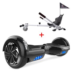 Hover Scooter Board,Elektro Scooter 6,5zoll E-Balance E-Skateboard Self Balance Scooter mit Bluetooth - LED Lichter - und Hoverkart White