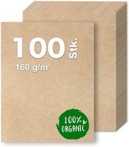 100x Kraftpapier DIN A4 Papier braun aus Naturkarton geeignet als Bastelkarton, Kraftkarton, Scrapbooking - bedruckbar