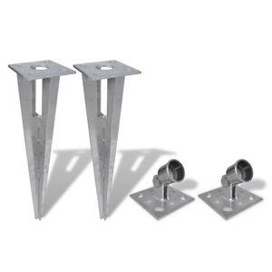 vidaXL Bodenanker und Strebenplatte 2 Stk. Stahl
