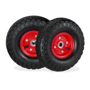relaxdays 2x Sackkarrenrad Luftreifen 4.1/3.5-4 Ersatzrad Stahl Komplettreifen schwarz-rot