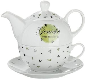 Gilde Teeservice Porzellan Tea for one Genieße jeden Moment