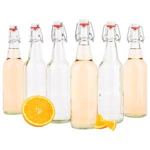 6x Bügelflasche 500 ml Bierpulle rund klare Glasflaschen Befüllen Most Saft Bier Schnaps Likör