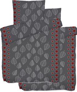 4-tlg. Biber Winter Bettwäsche 2x (135 x 200 + 80x80 cm), 100% Baumwolle, grau rot, Sterne+Blätter