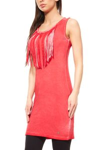 AjC Damen Mini Fransenkleid Freizeitkleid Rot, Größe:42