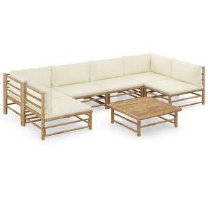 Hochwertigen Garten Sitzgruppe Gartengarnitur - 7-teiliges Garten-Lounge-Set - Gartengarnitur Set mit Cremeweißen Kissen Bambus☆3681