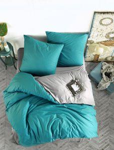 Bettwäsche 200x220 cm. 3 teilig set, türkis/grau,100% Baumwolle/Renforcé. Prestige V4