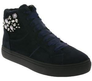 supremo Schuhe Plateau Stiefel modische Damen Schnür-Boots mit Samt-Schnürsenkeln Navy, Größe:41
