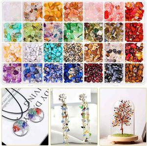 28 Farben Edelsteine mit Loch, Unregelmäßige Edelsteinperlen Gemstone Chips Beads, Steinperlen Basteln Schmuck Bastelset mit Kunststoffbox