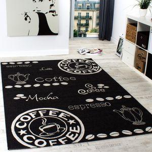 In- & Outdoor Teppich Modern Flachgewebe Sisal Optik Küchenteppich Schwarz Weiß, Grösse:120x170 cm