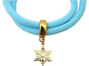 Damen Armband Wickelarmband 925 Silber Vergoldet Schneeflocke Blau