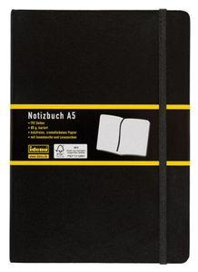 1 x Notizbuch DIN A5 kariert schwarz / 192 Seiten / Holzfreies cremefarbenes Papier, Idena, 15 x 21cm