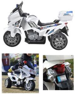 POLIZEI Motorrad Weiss Elektro Kindermotorrad Roller Kinderfahrzeug Dreirad 12V  GROSS