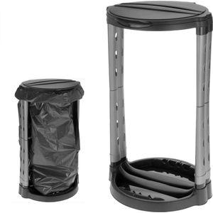 Müllsackständer Gelber Sack Halter 120 Liter Schwarz Silber