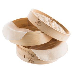 Reishunger Bambusdämpfer (Ø 20 cm), für 2 Personen, inkl. 2 Baumwolltücher