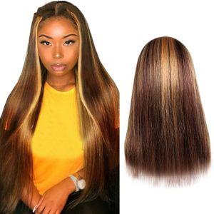 Frauen lange gerade mit vorgezupftem Haaransatz Braune Echthaar gerade Perücke
