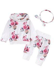 3 Stück Neugeborenes Baby Mädchen Kleidung Sets Langarm Floral Hoodie Sweatshirt+ Hose+ Bogen Stirnband Outfits 3-6 Monate (62/68) Farbe: Weiß