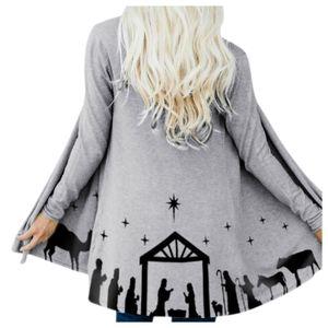 Damen Mittellange Positionierung House Print Cardigan Jacke Größe:XXXL,Farbe:Grau