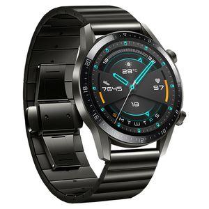 22mm Uhrenarmbänder Ersatz Edelstahl Uhrenarmband für HUAWEI WATCH GT2 46mm / HONOR MagicWatch2 46mm / HONOR MagicWatch,Schwarz