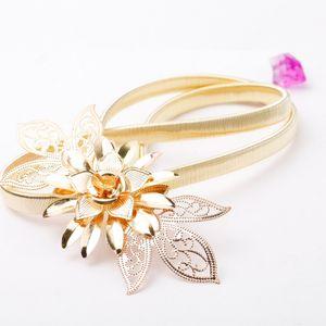 Mode Frauen Lady Gold Metall Kette Guertel Blumen Verzierung elastische Taille Strap Belt All-Match Kummerbund Gold