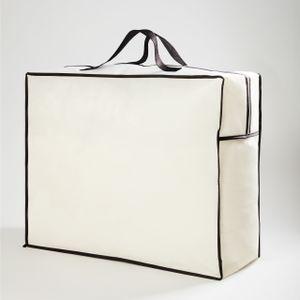 Lumaland Aufbewahrungstasche für Kissen und Decken 60 x 50 x 25 cm Weiß platzsparend leicht Reißverschluss Tragegriffe