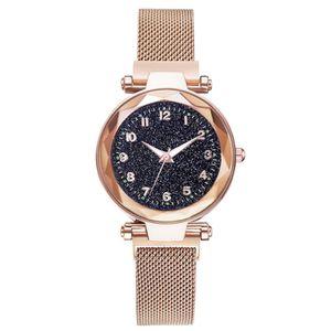 Luminous Magnet Quartz Damenuhr Armbanduhr mit Zahlen Starry Dial fuer Frauen