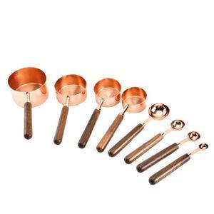 Haushalt Küche Esszimmer Bar Backen Werkzeuge Nussbaum Holzgriff Kupfer Überzug Messbecher Löffel Kuchen Zucker Werkzeuge Set