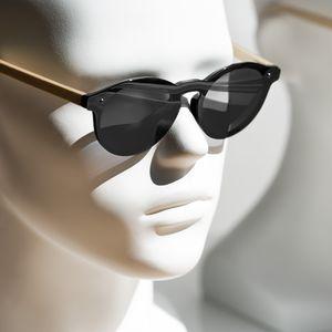 Navaris Sonnenbrille polarisiert randlos mit Holzbügeln - UV400 Damen Brille Herren Holzbrille - Holz Sonnenbrille mit bunten Gläsern und Etui