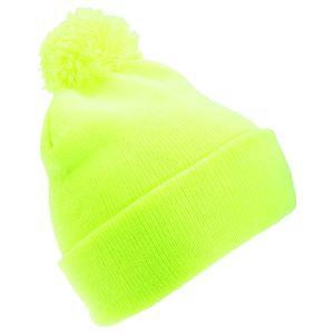 FLOSO Kinder Winter Strick Mütze Hi Vis mit Bommel HA437 (Einheitsgröße) (Gelb)